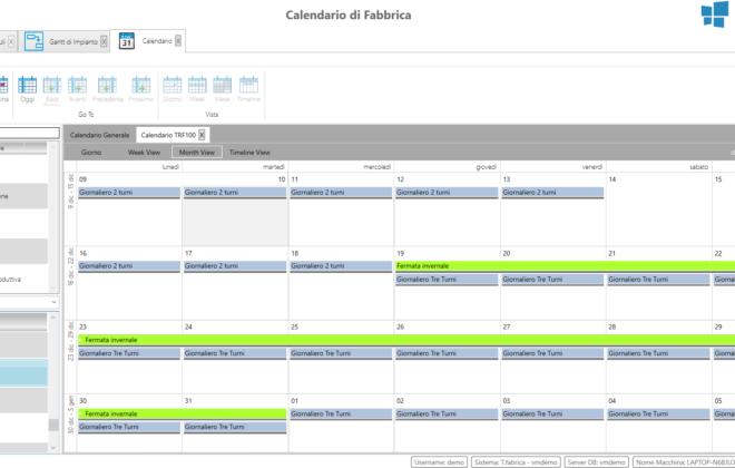 Esempio di calendario di fabbrica per planning dei turni delle risorse produttive